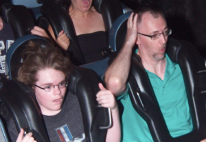 My husband Shaning on Rock 'n' Roller Coaster. Sort of.