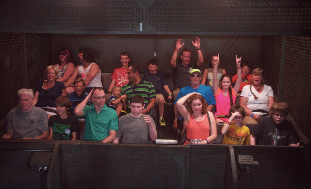 Our Shane timing was a bit off on Tower of Terror, but we tried!
